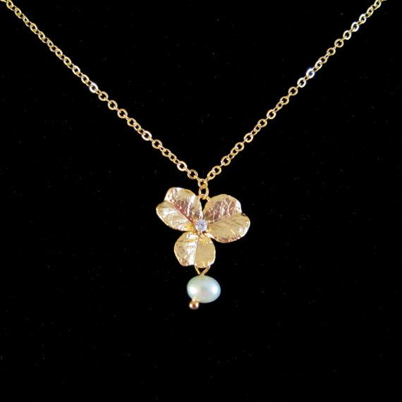 Gold Flower / Clover with Crystal and Freshwater by SweetandPretty