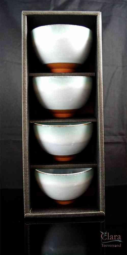 4 Teeschalen Hellblau