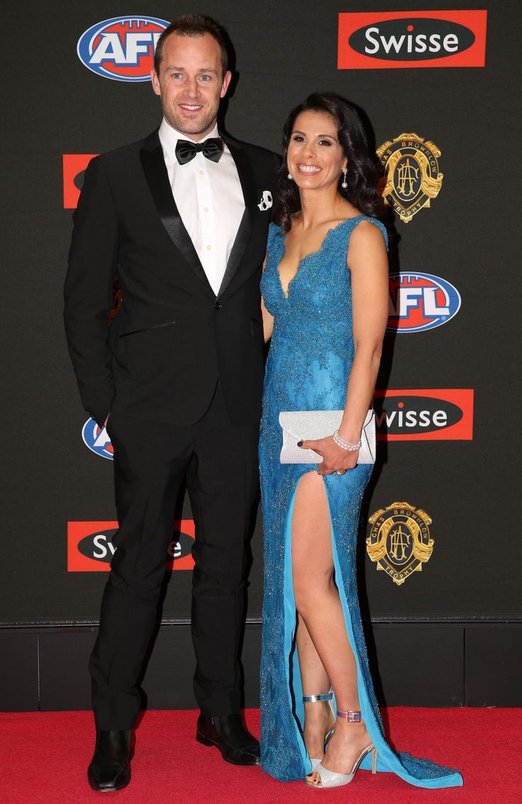 Daniel Cross of Melbourne arrives with wife Samantha Cross arrive on the red carpet for the 2015 AFL Brownlow Medal presentation held at Crown Casino on Monday, September 28, 2015, in Melbourne, Victoria, Australia. Picture: Tim Carrafa