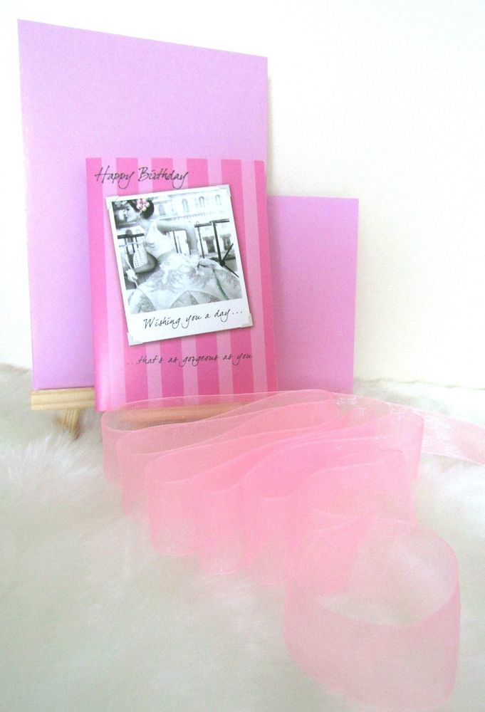 Happy Birthday Gorgeous Card & Envelope Gift Wrapping Paper & Organza Ribbon Set