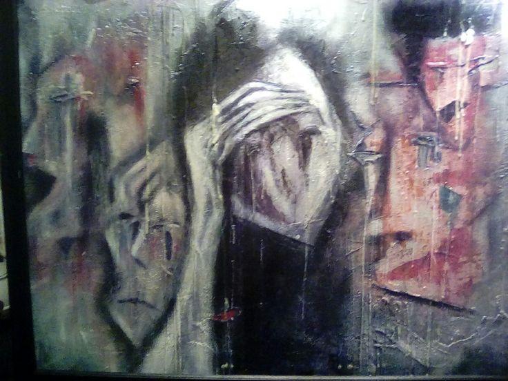 Acrylic/collage. Acrylic Bi-polar opposite😁😢