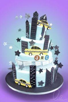 NYC Skyline Cake! Taxi cake! Beautiful cake by Lulu Scarsdale www.everythinglulu.com