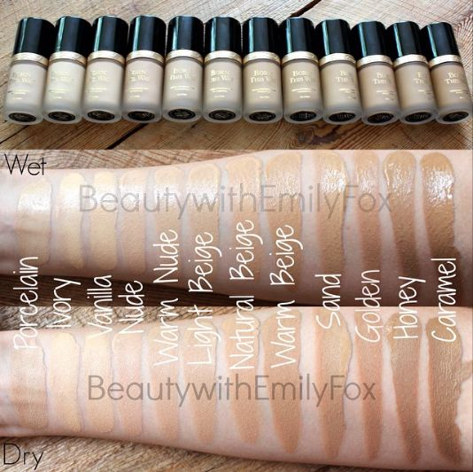Too Faced Born This Way foundation swatch: Porcelain, Ivory, Vanilla, Nude, Warm Nude, Light Beige, Natural Beige, Warm Beige, Sand, Golden, Honey and Caramel.