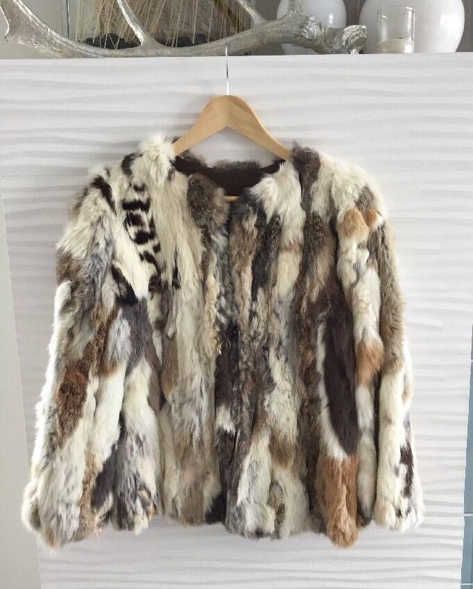 Vintage Rabbit Fur Coat Brown and Cream  | eBay