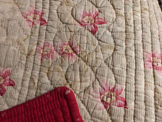 Antique French quilted quilt boutis bedspread comforter wool filled throw double sided coverlet bed spread w roses Provence country cottage