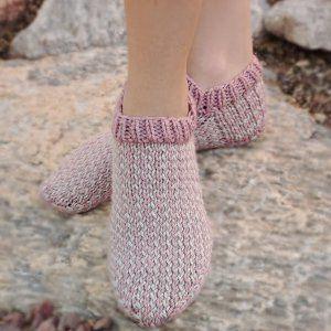 Berries and Cream Slipper Socks | AllFreeKnitting.com