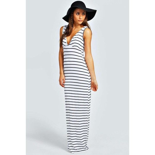 Boohoo Petite Petite Harriet Plunge Striped Jersey Maxi Dress featuring polyvore, women's fashion, clothing, dresses, ivory, night out dresses, mini dress, rayon maxi dress, jersey maxi dress and striped maxi dress