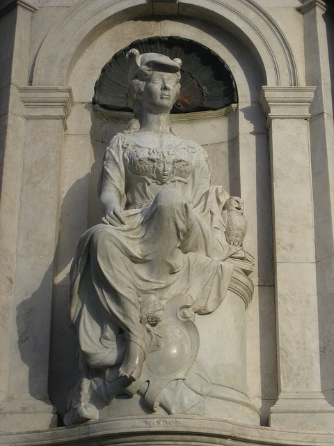 Detail of marble statue wisdom queen victoria memorial