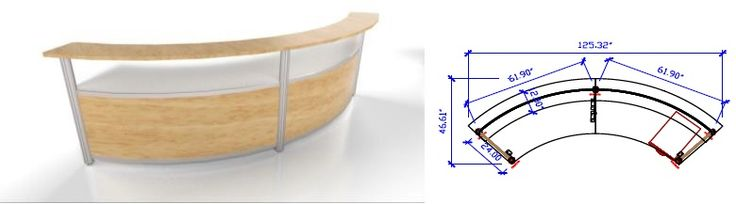 10FT curved reception in Finish Oak and Frosted Acrylic with one box file pedestal for storage.