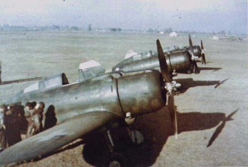 Line-up of Héja fighter aircraft of the Magyar Királyi Honvéd Légierő, Royal Hungarian Air Force, somewhere in Hungary with the markings in use from March 1942 until 1945. The Héja is the Hungarian version of the Italian Reggiane Re.2000. Victor Sierra
