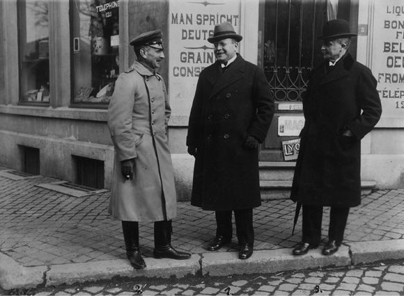 Matthias Erzberger (Middle) and Two Members of the German Armistice Commission in Belgium (November 1918)