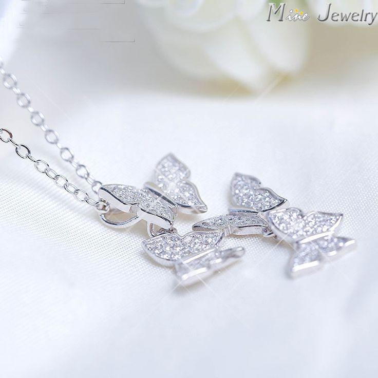 New Arrivals 2015 Moda Plata de Ley 925 Collares de Plata de La Mariposa Cristalina Collares Para Las Mujeres Joyería Collar Colar