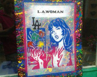 Lichtenstien style painting comic girl L.A woman stencil art graffiti spray paint canvas Los Angeles America pop art doors wall home living