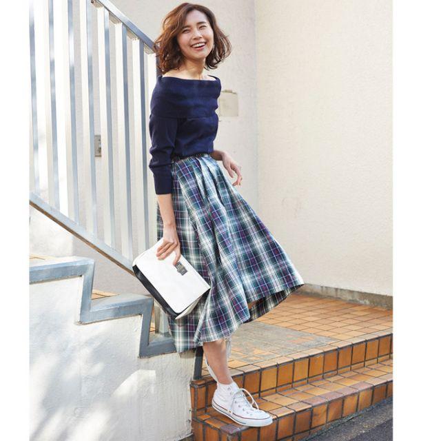 【Check back tale skirt】レディース チェック スカート