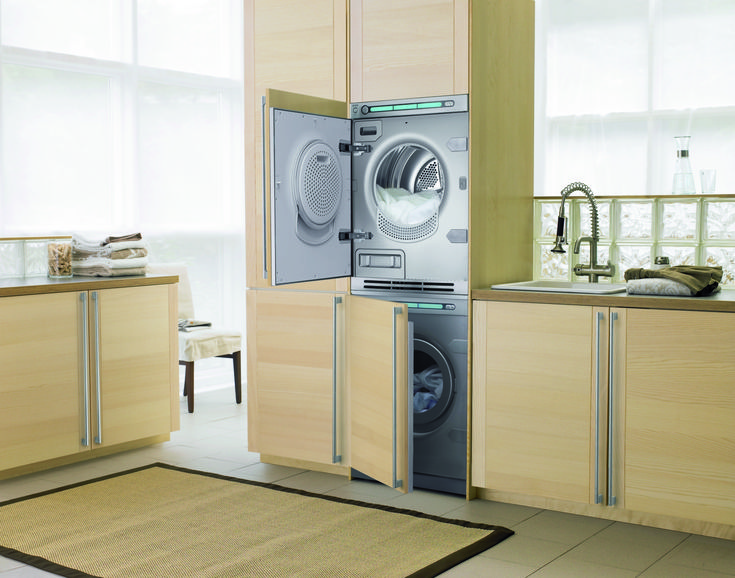 Asko laundry equipment and set up.
