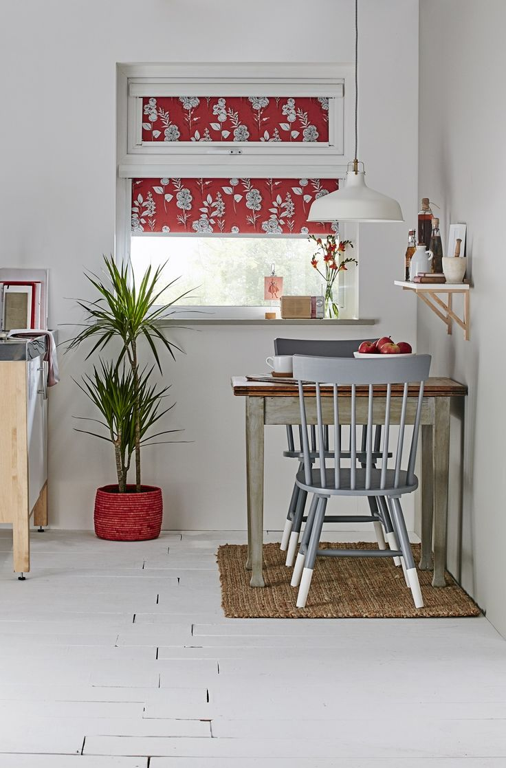 Apollo Blinds Intu red leaf and floral roller blind. Kitchen blinds. Intu blinds. Kitchen inspiration. Red and white home decor ideas. Kitchen roller blinds.