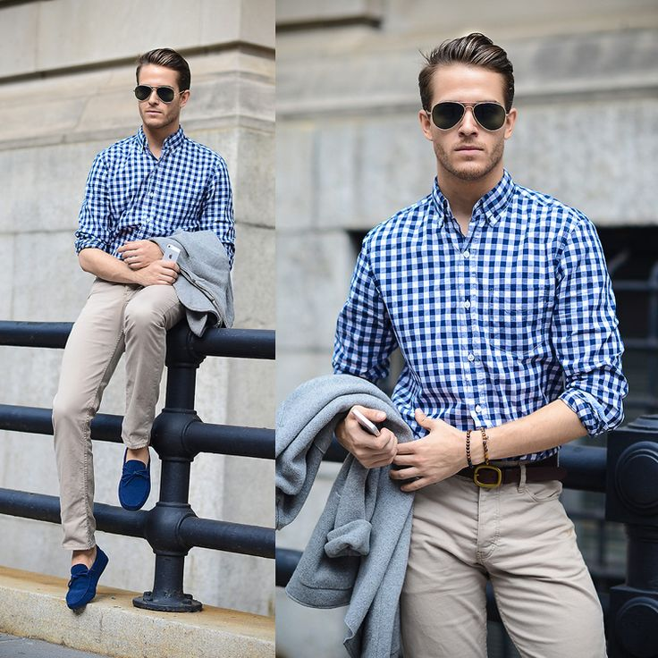 Business Casual Herren Outfit Karohemd Chinos Loafer Schuhe blau #fashion #style