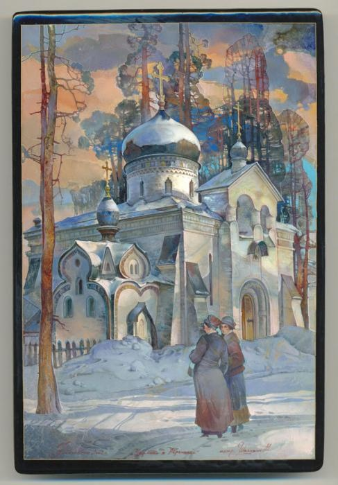 Lacquer art from Fedoskino. Michail Shelukhin. Церковь в Абрамцево.