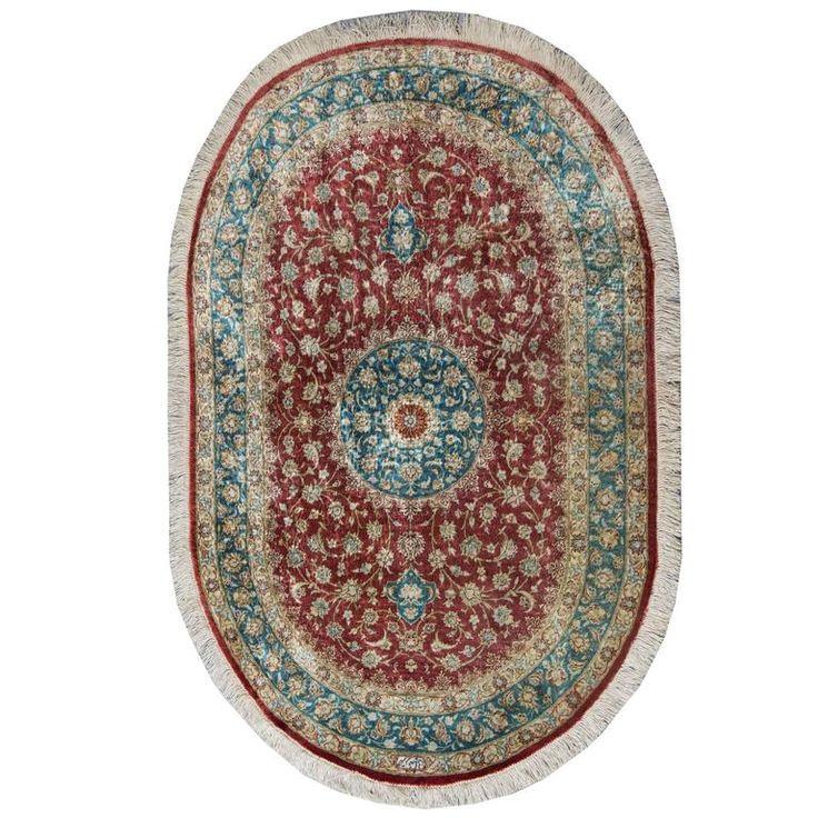 Magnificent Oval Persian Silk Qum Rug 1
