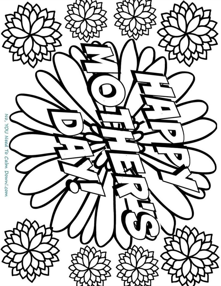 Happy Mother's Day Flowers Coloring Page Free Printable