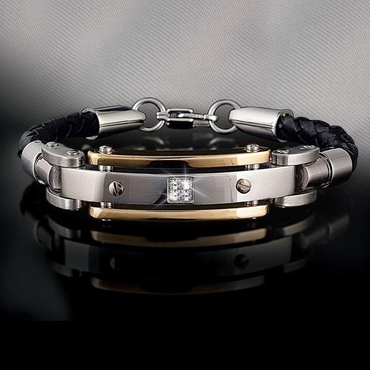 Men's Diamond Leather Bracelet - Men's Bracelets - Men's Jewelry - Jewelry Double Wow!! :-)