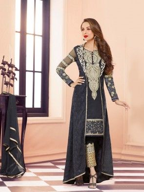 Black Faux Georgette Suit with Embroidery Work