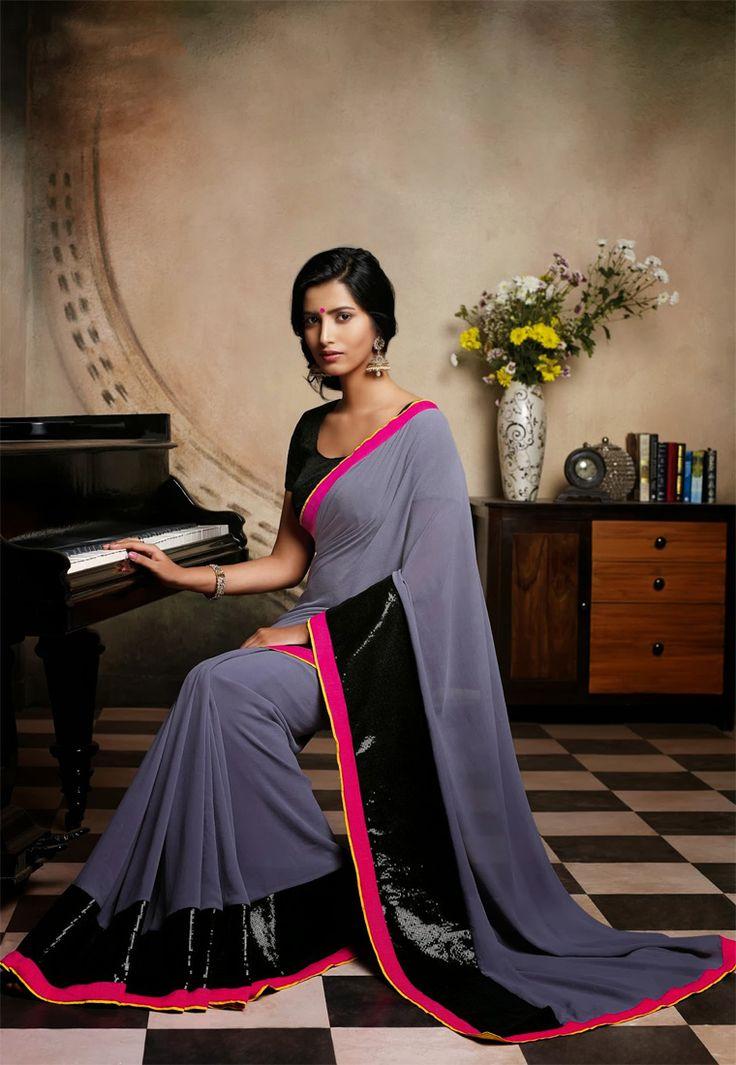 Grey Color Georgette Designer Saree ( what to do with my uniform saree)