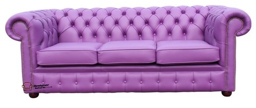 Chesterfield Traditional 3 Seater Sofa Settee Wineberry Purple Leather | eBay