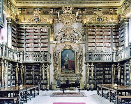 Biblioteca Geral University of Coimbra, Coimbra, Portugal - I would love to have a library in my house some day. This website has the top 20 most beautiful libraries