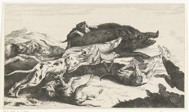 William Young Ottley | Honden jagen een zwijn, William Young Ottley, Peeter Boel, Peeter Boel, 1828 | Wildezwijnenjacht. Een roedel honden jaagt een wild zwijn.