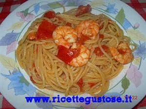 Spaghetti mazzancolle e pomodorini