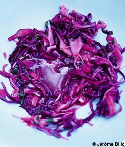 Recette Chou rouge, blanc et radis au vinaigre balsamique blanc  : Lavez les choux et les radis. Otez les feuilles et les radicelles des radis.Râpez finement l...