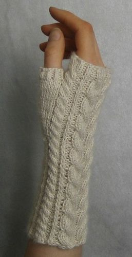 Free knit cable-stitch fingerless gloves pattern.