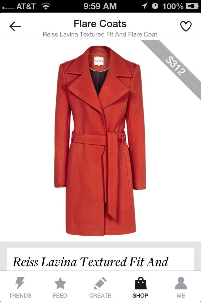 This is my choice for winner, hands down. From the wide lapels that make the waist look smaller to the rockin' red color, I love this coat.