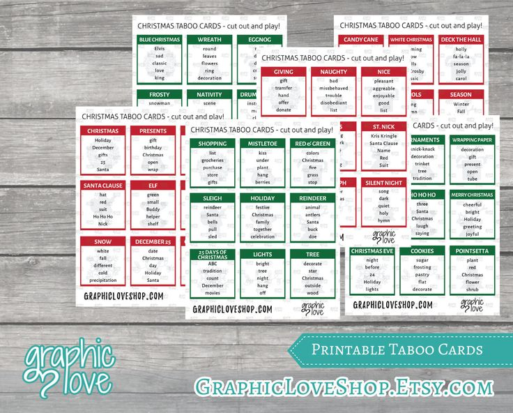 Christmas Themed Taboo Cards Set of 54 cards 6 by GraphicLoveShop