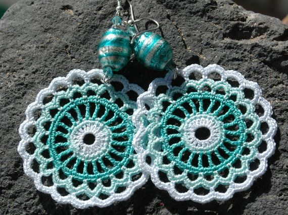 Something much smaller would be cute :)  Crocheted  Earrings in Mint and White color by lindapaula on Etsy, €11.00