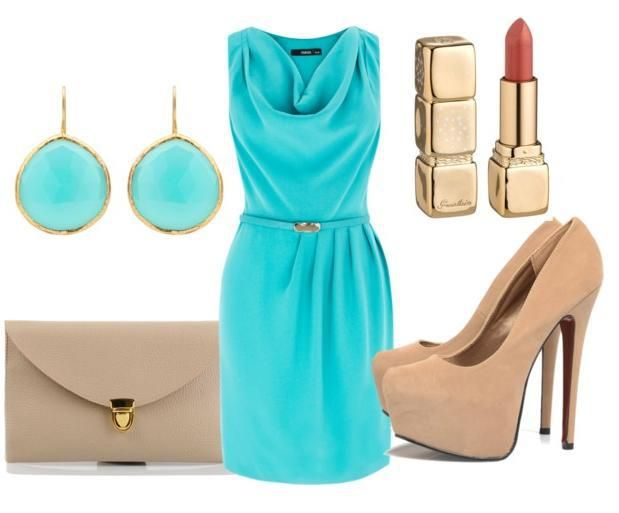 Evening Combinations - overlook the heel height & notice how beautifully beige goes with this soft aqua