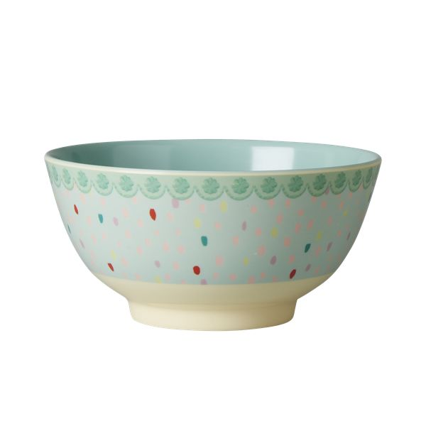Raindot Bowl Melamine by Rice DK, Offerd by Modern Rascals. Fun, Durable Kids Cups and Dishes.