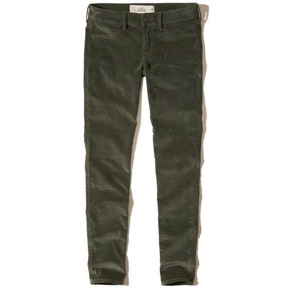 Hollister Low-Rise Super Skinny Velvet Pants (€24) via Polyvore featuring pants, dark olive, low rise pants, skinny leg pants, velvet trousers, zipper pants et skinny pants