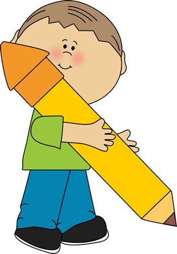 Boy Holding a Big Pencil