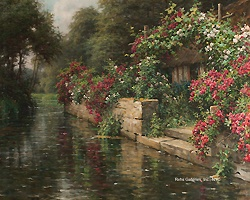 Louis Aston Knight  (1873 - 1948)  Along the River  Oil on canvas  26 x 32 inches  Signed and inscribed Paris