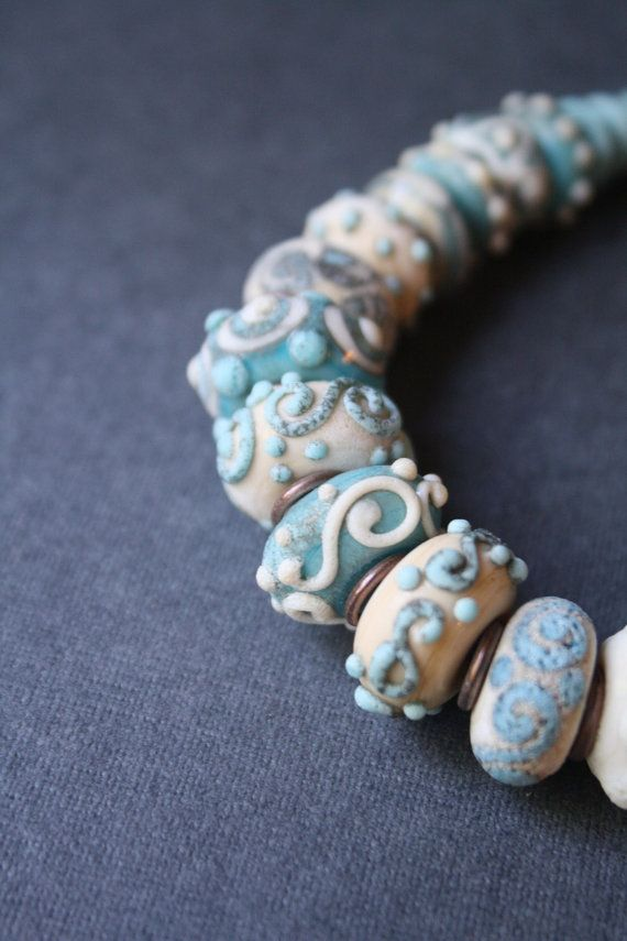 Necklace. Frosted glass ivory turquoise от LikeAGlassShop на Etsy
