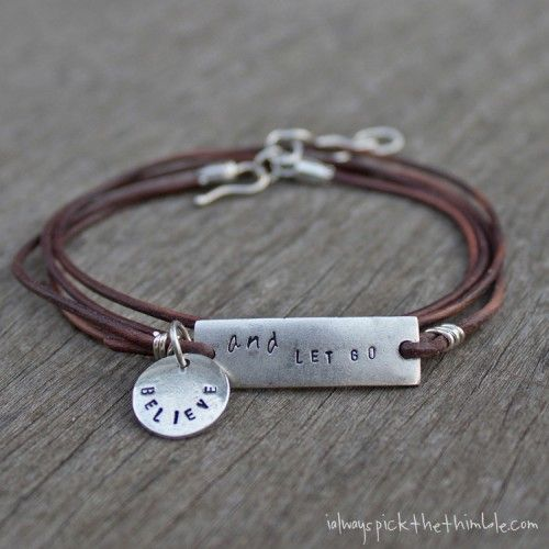 Now That You Know How To Metal Stamp, Create This 'Let Go' Leather Wrap Bracelet. - See more at: http://www.nunndesign.com/now-that-you-know-how-to-metal-stamp-create-this-let-go-leather-wrap-bracelet/#sthash.IC9tzd0Y.dpuf