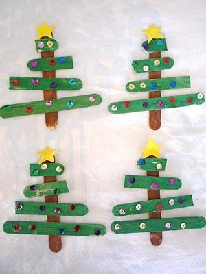 pintrest prechool posicle crats | Popsicle stick Christmas tree ornaments | Preschool Arts and Crafts