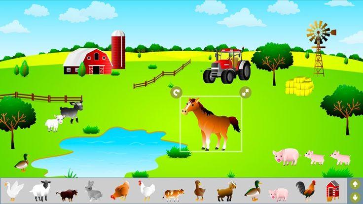 """Sticker Tales. Jednoduchá aplikace k tvorbě obrázků pomocí předpřipravených nálepek. Skvělé například do angličtiny k vytváření scén pomocí diktátů (""""napravo od farmáře stojí kůň""""). Ve verzi zdarma je jen set Farma, ostatní sety nálepek a pozadí jsou placené, ačkoliv k aktuálnímu datu jsou v rámci reklamní kampaně zdarma."""
