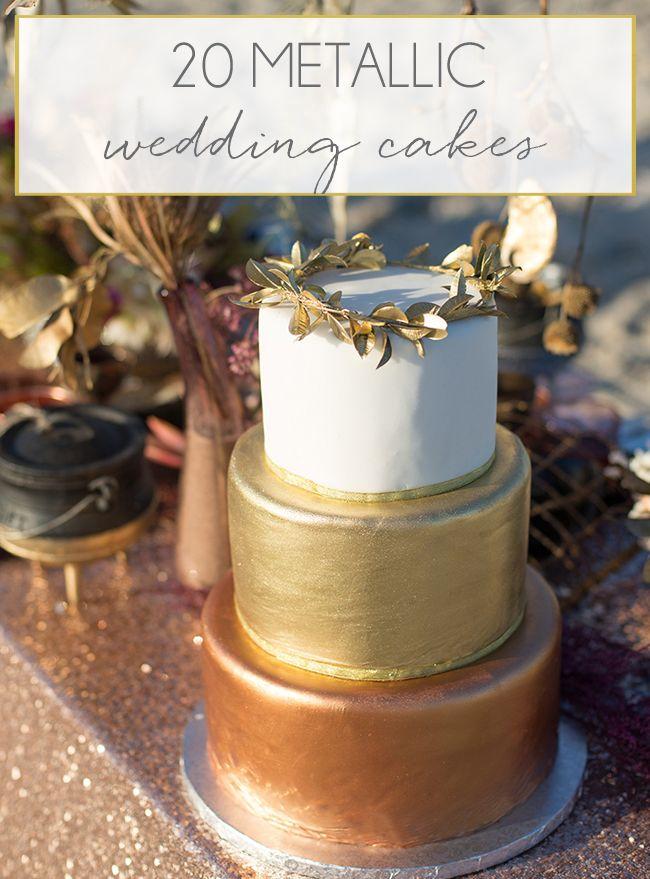 20 Metallic Wedding Cakes | SouthBound Bride | http://www.southboundbride.com/20-more-metallic-wedding-cakes | Credit: Memory Box Photography/Blank Canvas Event Design/Edible Art Cakes