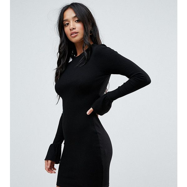ASOS PETITE Mini Rib Bodycon Dress with Frill Cuffs ($18) ❤ liked on Polyvore featuring dresses, black, petite, body con dress, high neck bodycon dress, short dresses, petite dresses and petite bodycon dresses