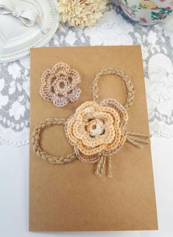 2 ivory applique flowers wool crochet flowers sewing