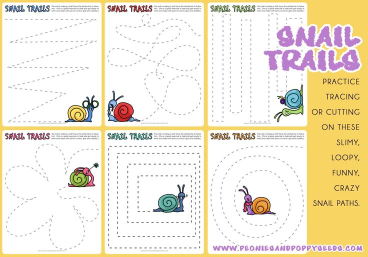 Snail Trails: Practice Tracing or Cutting | Peonies and Poppy Seeds:
