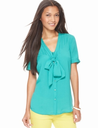 The Limited - Pintuck Bow Blouse in Ocean Emerald Green #TheLimitedShirtEvent29 Pintuck, Green Thelimitednewshirtev, Clothing, Bows Blouses, Green Thelimitedshirtev, Combos Thelimitednewshirtev, The Limited, Pintuck Bows, Fashion Styl